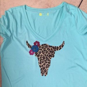 Tops - Custom made!!NEW Cute Leopard Cow skull w/ flowers